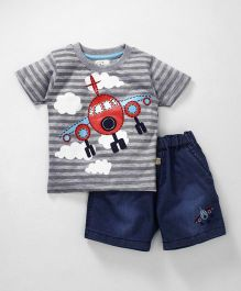 Olio Kids Half Sleeves Stripe T-Shirt With Denim Shorts - Grey