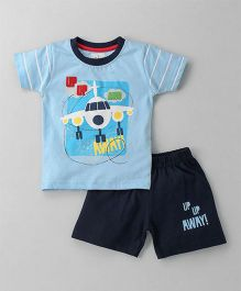 Olio Kids Half Sleeves T-Shirt With Short Aeroplane Print - Sky Blue Navy