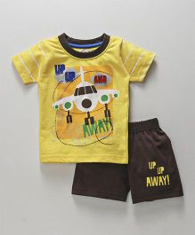 Olio Kids Half Sleeves T-Shirt With Short Aeroplane Print - Yellow Brown