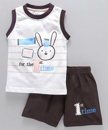 Olio Kids Sleeveless Tee And Shorts Bunny Print - Sky Blue
