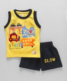 Olio Kids Sleeveless Tee And Shorts Vehicle Print - Yellow Black