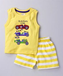 Olio Kids Sleeveless Tee And Shorts Car Print & Patch - Yellow