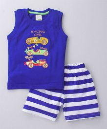 Olio Kids Sleeveless Tee And Shorts Car Print & Patch - Royal Blue