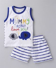 Olio Kids Sleeveless Tee And Shorts Text Print & Elephant Patch - Blue White
