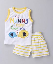 Olio Kids Sleeveless Tee And Shorts Text Print & Elephant Patch - Yellow White