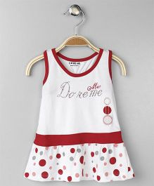 Doreme Racer Back Style Frock Polka Print - White Red