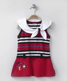 Doreme Sleeveless Frock Sailor Style - Red
