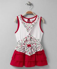 Doreme Sleeveless Frock Floral Print - Red White