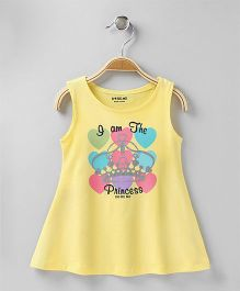 Doreme Sleeveless Frock Princess Print - Yellow