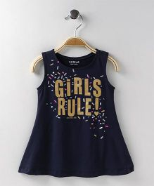 Doreme Sleeveless Frock Girls Rule Print - Navy