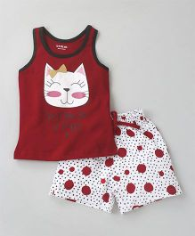 Doreme Racer Back Tee & Shorts Night Suit Kitty Print - Red White