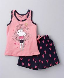 Doreme Racer Back Tee & Shorts Night Suit Girl And Heart Print - Pink Navy Blue