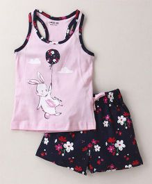 Doreme Racer Back Tee & Shorts Night Suit Bunny And Floral Print - Pink Navy Blue