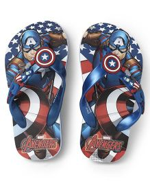 Avengers Captain America Printed Flip Flops - Royal Blue