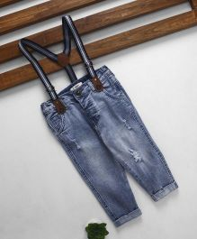 Fox Baby Full Length Ripped Jeans With Suspenders - Blue