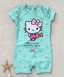 Fox Baby Short Sleeves Legged Swimsuit Hello Kitty Print - Sea Green