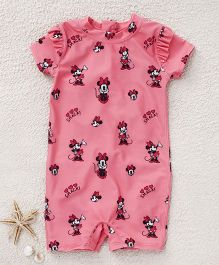 Fox Baby Short Sleeves Legged Swimsuit Minnie Mouse Print - Pink