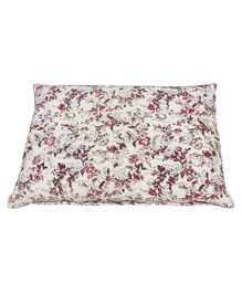 Relaxing Pillow With Buck Wheat Hull Filling Floral Print - White Maroon