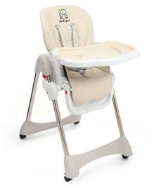 Baby High Chair With Wheels - Beige & White