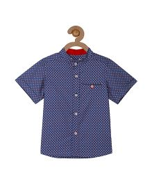 Campana Mandarin Collar Printed Shirt - Blue