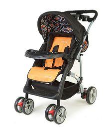 Luv Lap Baby Stroller Cum Pram Sports Black & Orange - 18104