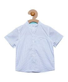Campana Mandarin Collar Shirt - White & Blue