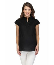 Preggear Nursing Front Open Cotton Maternity Top - Black