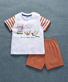 Zero Half Sleeves T-Shirt With Shorts Bear Print - Orange