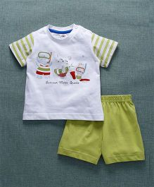 Zero Half Sleeves T-Shirt With Shorts Bear Print - Green