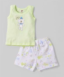 Zero Sleeveless T-Shirt With Shorts Bear Print -  Lemon Green White