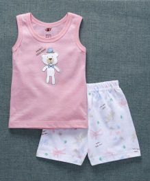 Zero Sleeveless T-Shirt With Shorts Bear Print - Light Pink