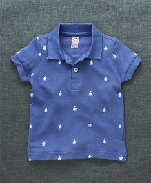 Zero Half Sleeves Polo T-Shirt Boat Print - Blue