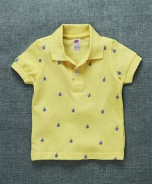 Zero Half Sleeves Polo T-Shirt Boat Print - Yellow