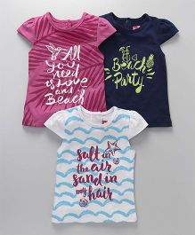 Little Kangaroos Cap Sleeves Tops Pack of 3 - Pink Navy Blue White
