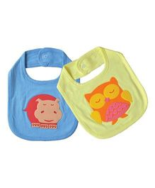 Shumee Organic Cotton Bibs With Snap Button Closure Hippo & Owl Patch - Green Blue