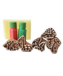 Shumee Wooden Dino Stamps Set of 5 Stamps With 2 colors