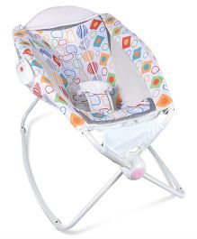 Deluxe Printed Baby Sleeper Cum Rocker Napper - White