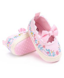 Little Hip Boutique Floral Embroidered Bow Trim Booties - Pink