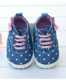 Little Hip Boutique Polka Denim Ankle Booties - Blue & Pink