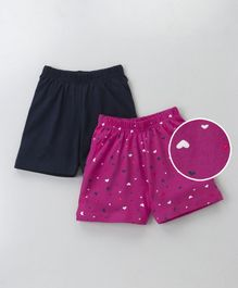 Babyhug Plain & Printed Shorts Pack of 2 - Fuchsia Black