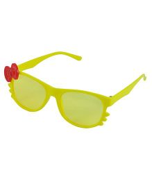 ANGEL GLITTER Cute Bow Applique Kid's Aviator Sunglasses - Yellow