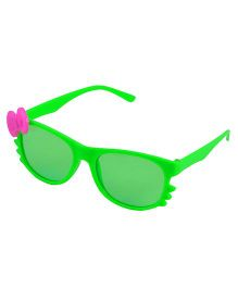 ANGEL GLITTER Cute Bow Applique Kid's Aviator Sunglasses - Green