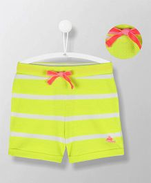 Cherry Crumble California Striped Summery Shorts - Lemon Yellow