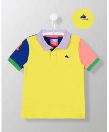 Cherry Crumble California Polo T-Shirt - Yellow & Blue
