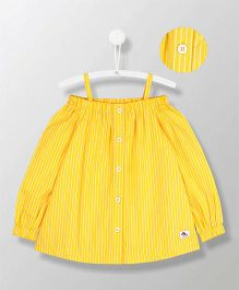 Cherry Crumble California Off Shoulder Plain Top - Yellow