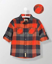Cherry Crumble California Checks Print Shirt - Orange & Black