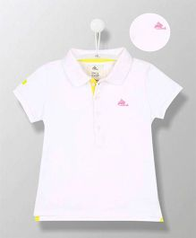 Cherry Crumble California Organic Polo T-Shirt - White & Yellow