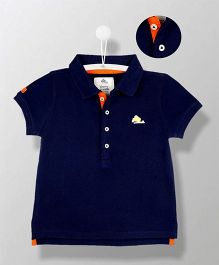 Cherry Crumble California Organic Polo T-Shirt - Navy Blue & Orange