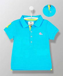 Cherry Crumble California Organic Polo T-Shirt - Cyan Blue & Yellow