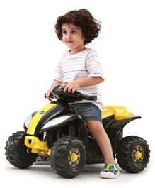 Babyhug Four Wheel Ride On Little Elf Print - Black